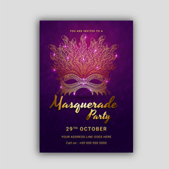 Go Carnival Mask, Masquerade, Mardi Gras. Carnival glittering lettering design, Night Party Poster, Dance Party Flyer, Musical Party Banner, Carnival Invitation.