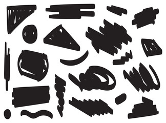 black brush strokes set hand drawn vector