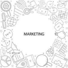 Marketing background from line icon. Linear vector pattern