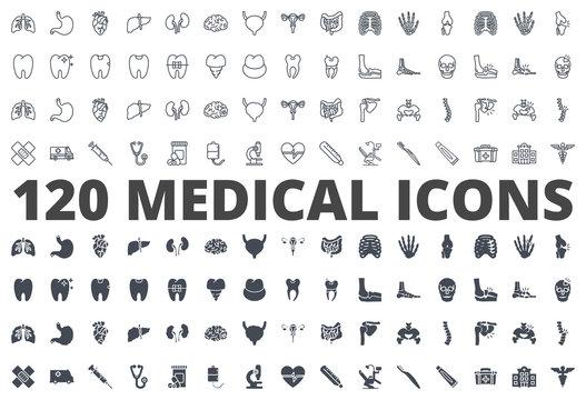 Medicine line silhouette icon vector