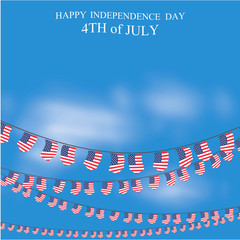 Happy independence day with Bunting Flag