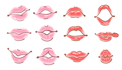 set of vector lips in cartoon style. Realistic mouth