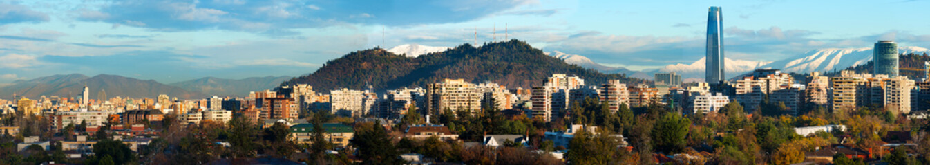 Panoramic view of Santiago de Chile with the historic downtown at the left and the new Financial district at the right
