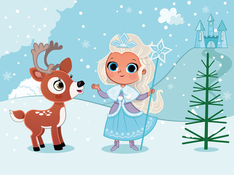 Winter princess in snow with a deer. (Vector illustration)