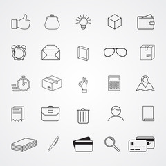 Carved silhouette flat icons, simple vector. Collection of basic symbols for web illustration of time, money, business, office work. Purse, credit cards, clock, hand, parcel, pen, magnifier, document
