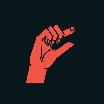 Gesture. Zero. A little bit sign. Stylized hand with index and thumb making circle. Icon. Vector.