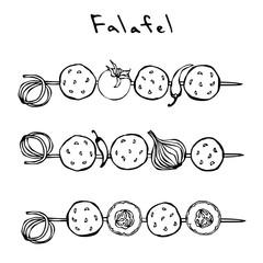 Falafel, Vegetables Tomato, Chilli Pepper, Onion, Zucchini on a Skewer. Grill BBQ. Arabic Israel Vegetarian Healthy Fast Food. Jewish Street. Realistic Hand Drawn Illustration. Savoyar Doodle Style.