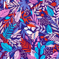 Vector colorful floral seamless pattern with exotik leaves