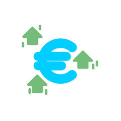 Euro rise trading flat icon vector