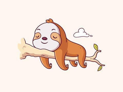 Cute lazy sloth baby sleeping on a branch cartoon illustration