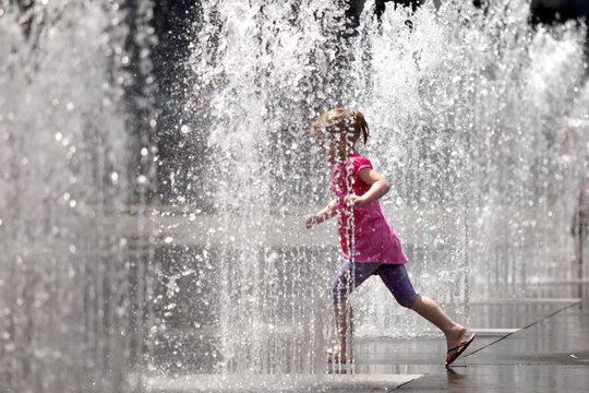 Playing in the Water Fountain - Toronto, Canada