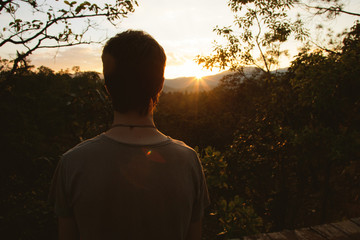 Silhouette of a man at Pai Canyon at sunset