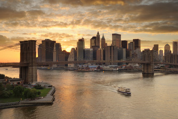 Fotomurales - Brooklyn Bridge and Manhattan