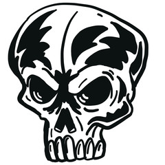 Monochrome vector illustration of skull, head and bones. On white background