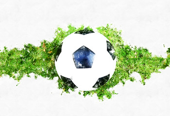 Abstract soccer ball or football ball on grass watercolor painting background.