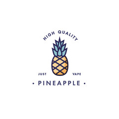 Design template logo and emblem - taste and liquid for vape - pineapple. Logo in trendy linear style.