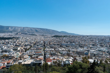Aerial beautiful cityscape view of Athens. Greece.