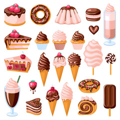 Big set of chocolate sweet food. Donut, ice cream, muffins, smoothies, macaroons and candies. Vector illustration