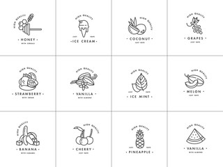 Vector set design monochrome templates logo and emblems -different tastes and liquids for vape. Fruits and spices icon. Logos in trendy linear style isolated on white background.