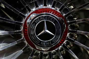 A Mercedes logo is seen on the wheel of Mercedes-Maybach Ultimate Luxury displayed during a media preview of the Auto China 2018 motor show in Beijing