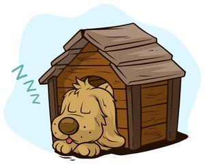 Cartoon cute sleeping dog in wooden kennel