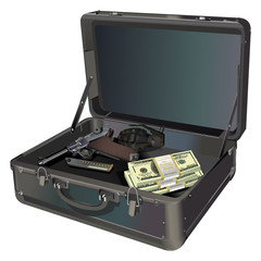 Suitcase with gun, grenade and money vector illustration isolated on white background