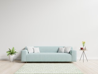 Living room with sofa have pillows, plant and vase with flowers on white wall background, 3D rendering