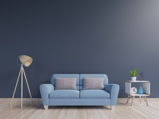 Modern living room interior with blue sofa and green plants,lamp,cabinet on blue wall background. 3d rendering.