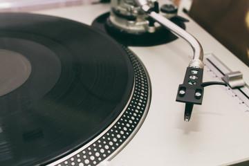turntable vinyl record player detail