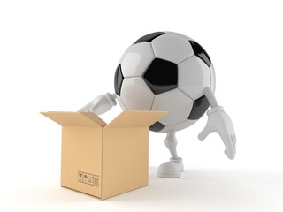 Soccer ball character with open cardboard box