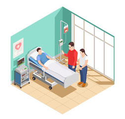 Hospital Visit Friends Isometric Composition