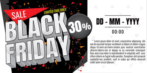 Black Friday sale banner. Vector illustration on white background. discount 30%