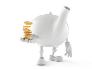 Teapot character with stack of coins