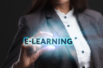 The concept of business, technology, the Internet and the network. A young entrepreneur working on a virtual screen of the future and sees the inscription: E-learning