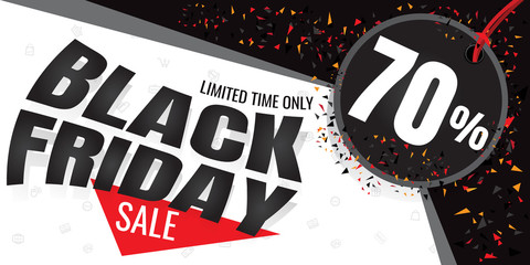 Black Friday sale banner. Vector illustration on white background. discount 70%