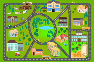 Cartoon map with roads, cars and houses (hospital, school, market, farm). City map for children. Play mat