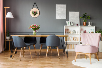 Pink and grey dining room