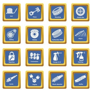Car repair parts icons set vector blue square isolated on white background