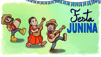 Three cheerful people playing instruments and dancing in a Brazilian Festa Junina party. Yellow watercolor background with flags and text.