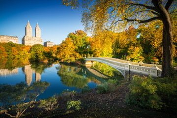 Famous Bow Bridge in New York City Central park with beautiful sunrise light over trees in fall.