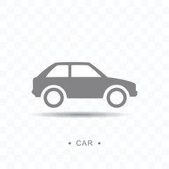 Car icon vector illustration on transparent background.