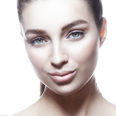 Close-up beauty face of young caucasian model girl with natural make-up, clean skin. Facial treatment concept