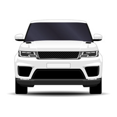 realistic SUV car. front view