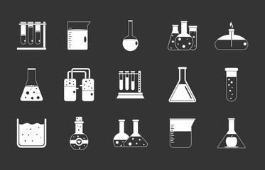 Chemical pots icon set vector white isolated on grey background