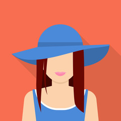 Woman in hat icon. Flat illustration of woman in hat vector icon for web