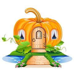 fairy little house made of pumpkin