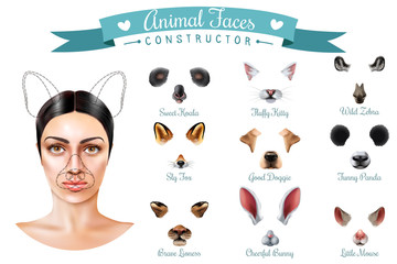 Cute Animal Faces Constructor Icon Set
