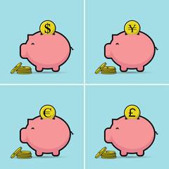 Piggy bank. Vector illustration. dollar,euro,yen,pounds