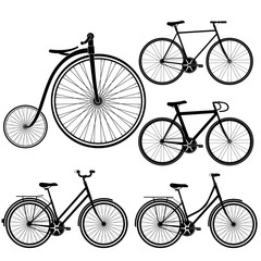 set of bicycles silhouette on white background vector