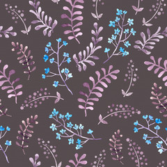 Cute repeat pattern with naive retro flowers and leaves. Vintage watercolor